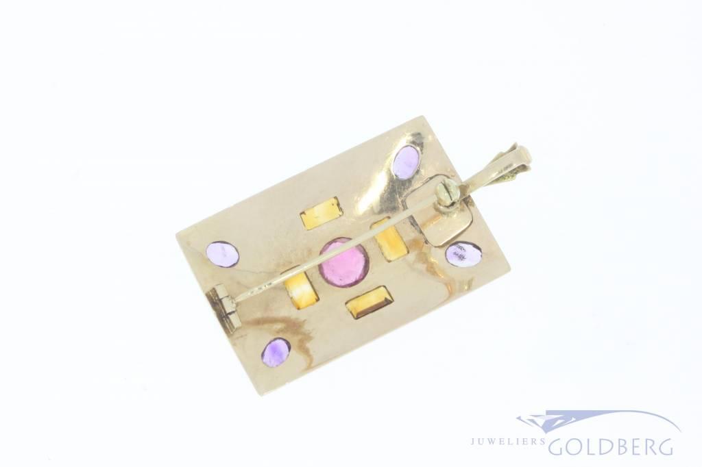 14k gouden broche/hanger met diverse  edelstenen
