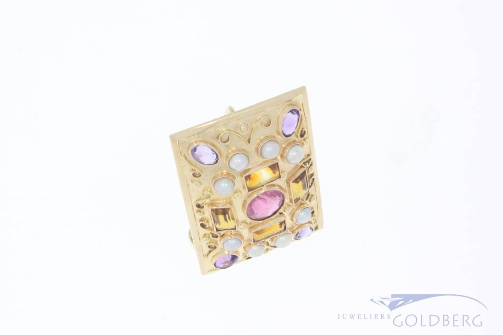 14k gold brooch/pendant with various gemstones
