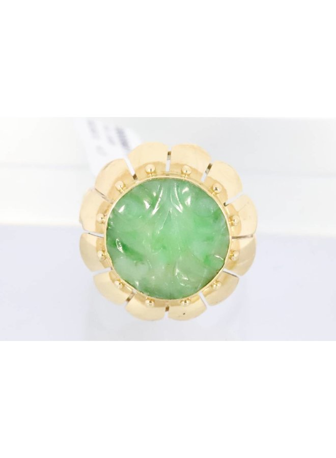 14k gold ring with round jade