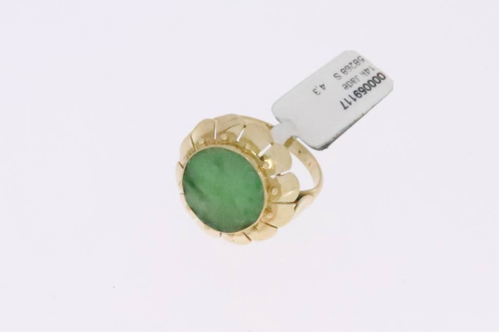 14k gouden ring met ronde jade steen