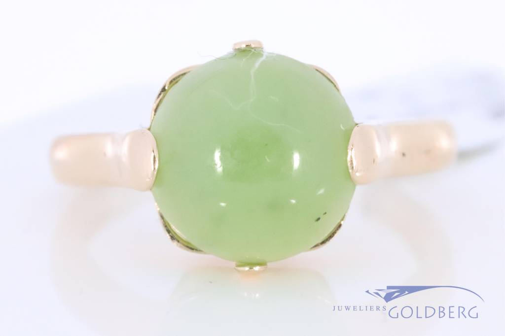 Vintage 18k rosegouden ring met jade