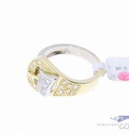 """Vintage 18k """"gesp"""" ring met diamant"""