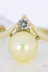 Vintage 18k gouden ring met parel en diamant