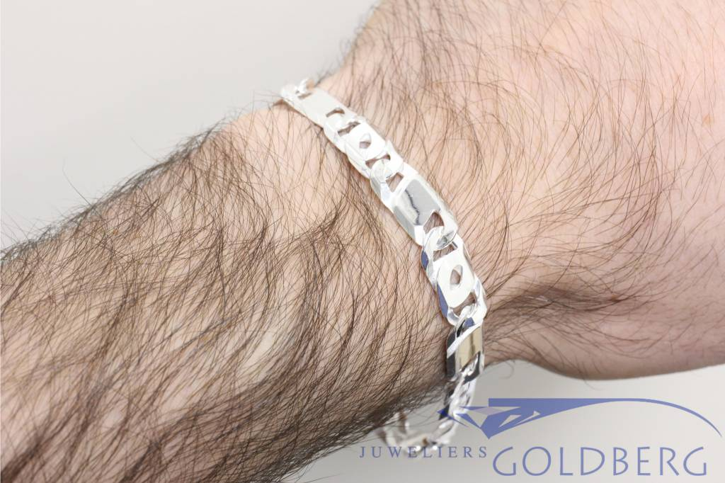 Silver mens bracelet eagle eye 8,5mm 21cm