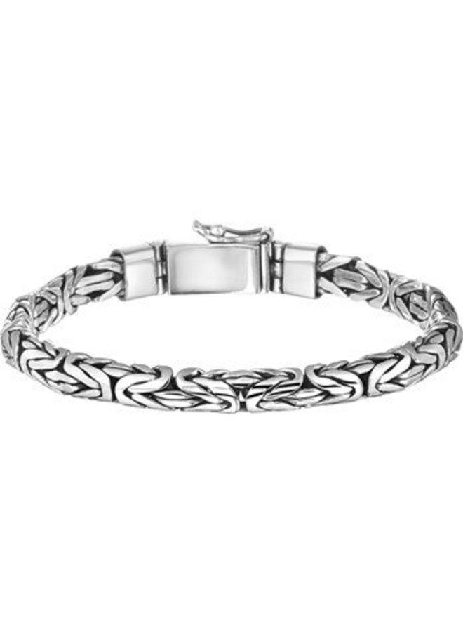 Solid silver mens byzantine bracelet 6mm 20cm