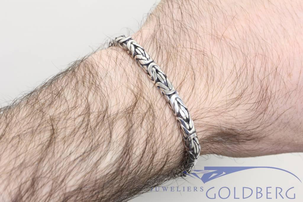 Zilveren herenarmband konings schakel 6mm 20cm