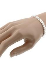 Solid silver mens flat  byzantine bracelet 7,5mm 21cm