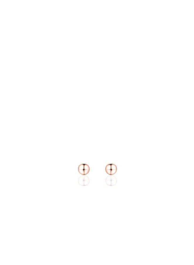 """Zilveren oorsteker """"bolletje"""" 3mm rosé"""