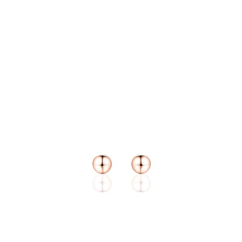 Silver earstud sphere 4mm rose gold plated