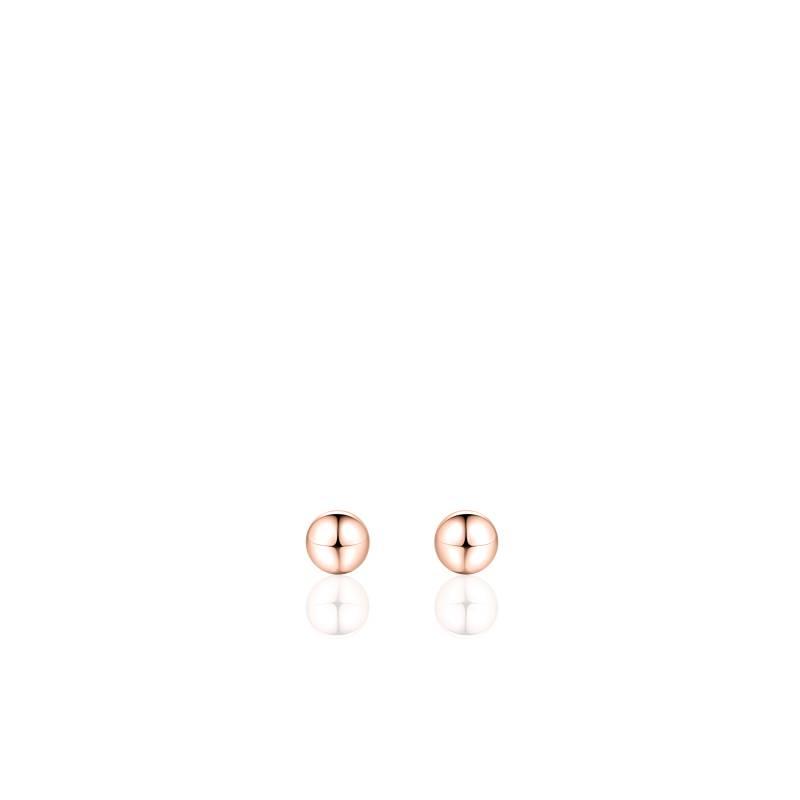 """Zilveren oorsteker """"bolletje"""" 4mm rosé"""
