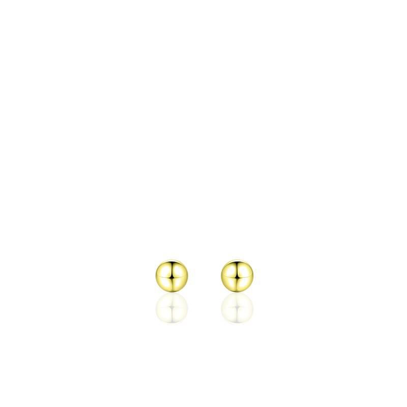 """Zilveren oorsteker """"bolletje"""" 4mm verguld"""