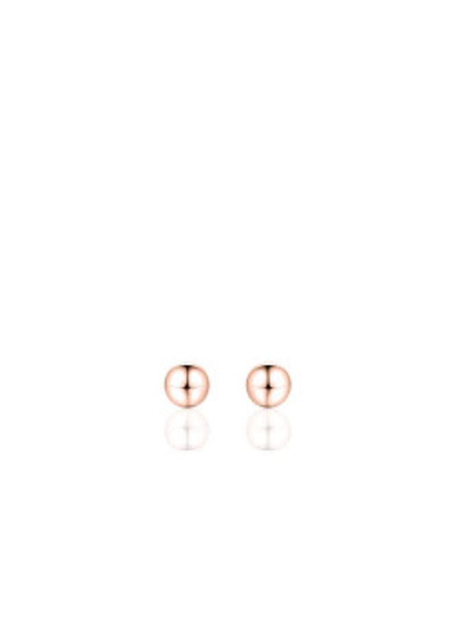 """Zilveren oorsteker """"bolletje"""" 5mm rosé"""