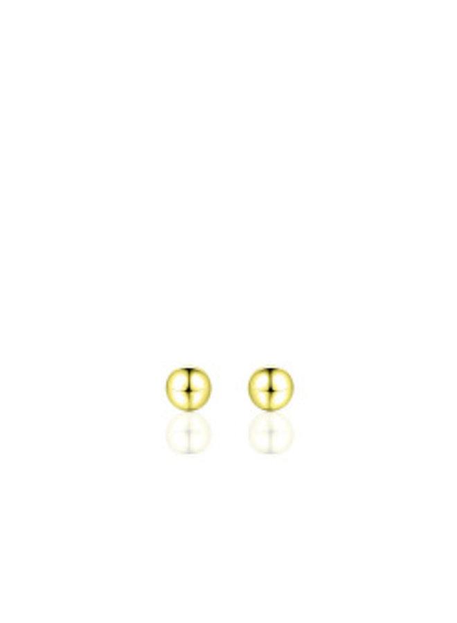 """Zilveren oorsteker """"bolletje"""" 5mm verguld"""