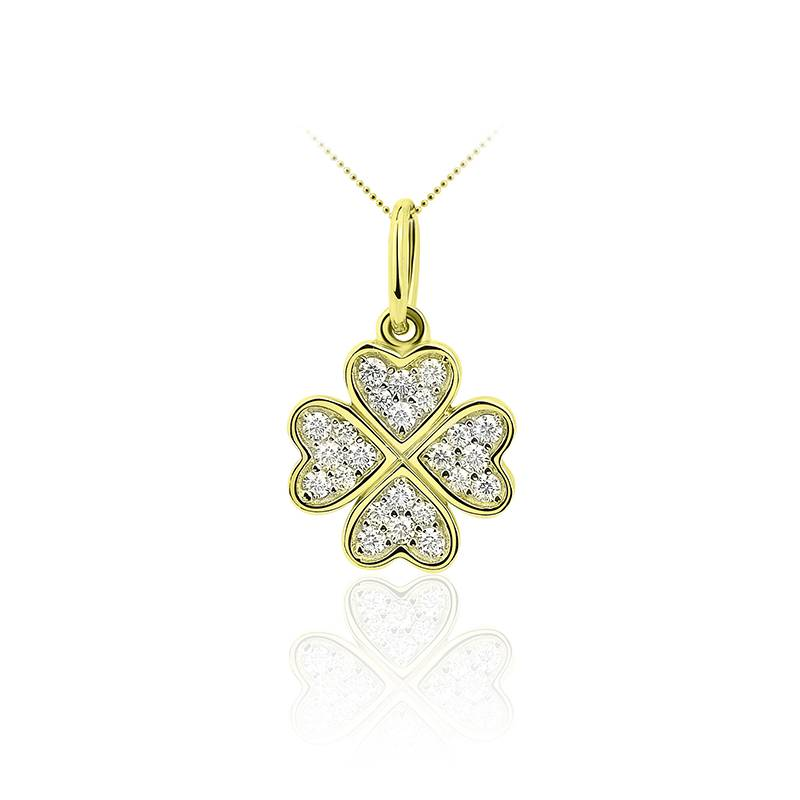 gold lucky clover with zirconia