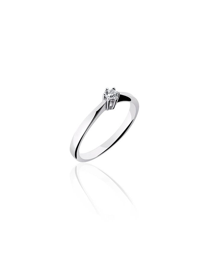 Silver engagement ring 3mm zirconia