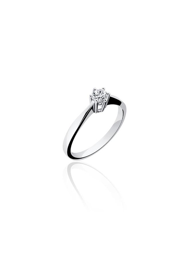 Silver engagement ring 6-prongs 4mm zirconia