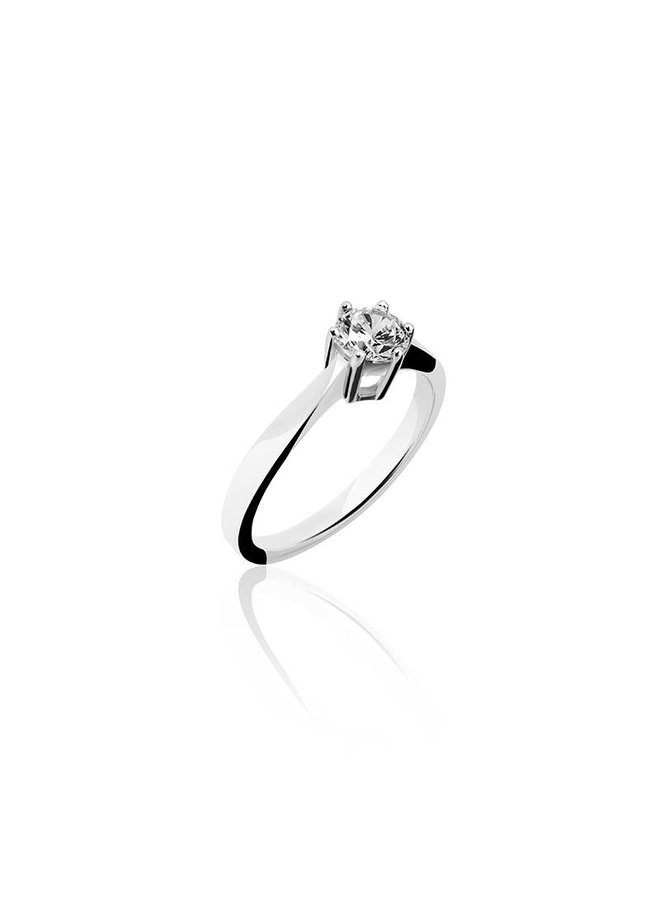 Silver engagement ring 6-prongs 5mm zirconia