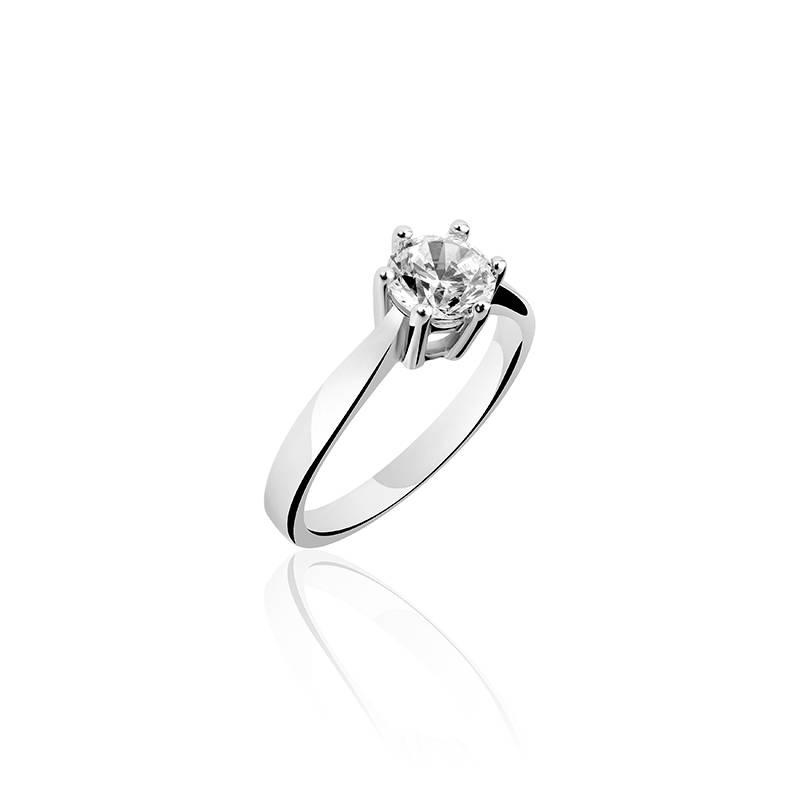 Silver engagement ring 6-prongs 6mm zirconia