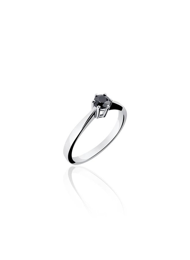 Silver engagement ring 6-prongs 4mm black zirconia