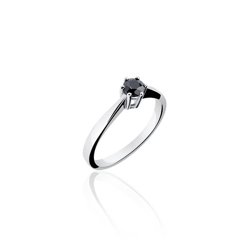 Zilveren verlovingsring zwarte zirconia 4mm in 6-poots zetting