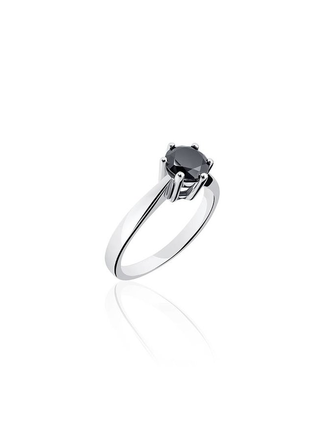 Silver engagement ring 6-prongs 6mm black zirconia