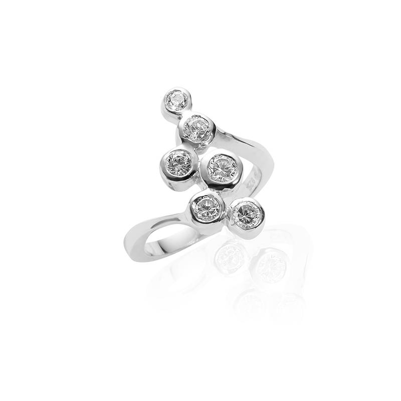 Silver fantasy ring with zirconia's