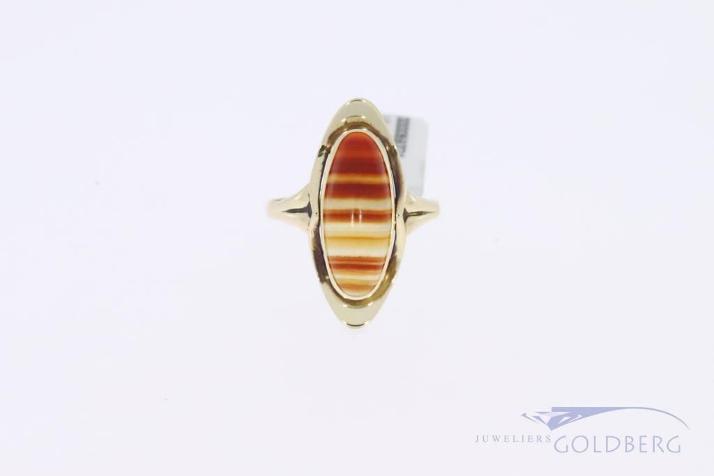 14k gouden vintage ring met agaat 1953-1966