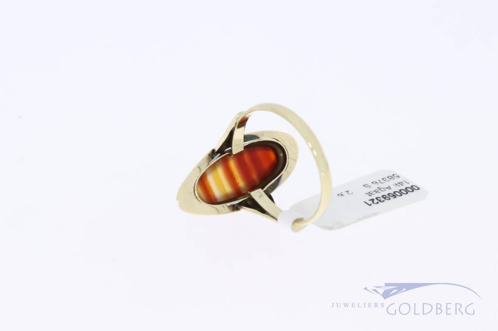 14k gold vintage ring with agate 1953-1966