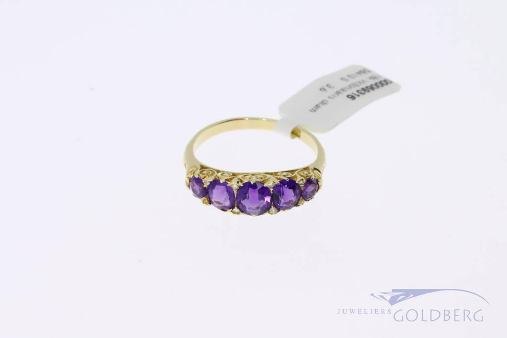 18k gold antique Victorian ring with amethyst and diamond