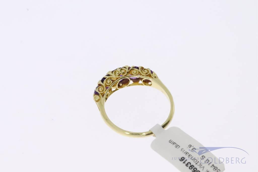 18k gouden antieke Victoriaanse ring met amethist en diamant