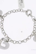 White gold charm bracelet 3 large hearts
