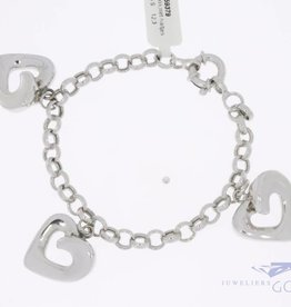 White gold charm bracelet 3 hearts