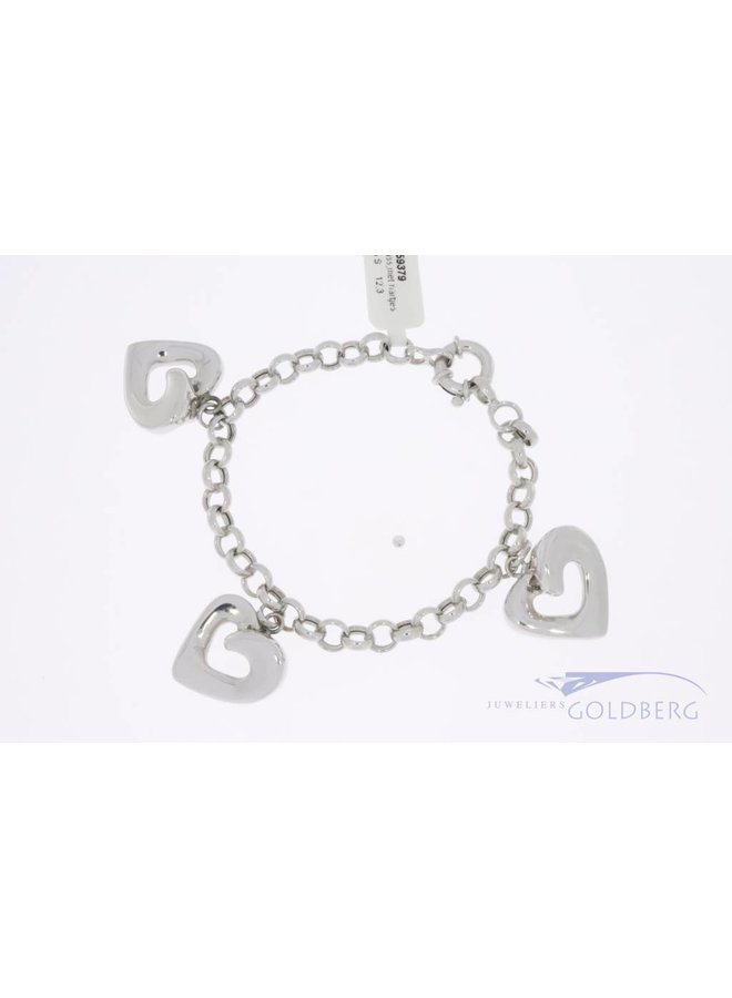 White gold charm bracelet 3 large hearts