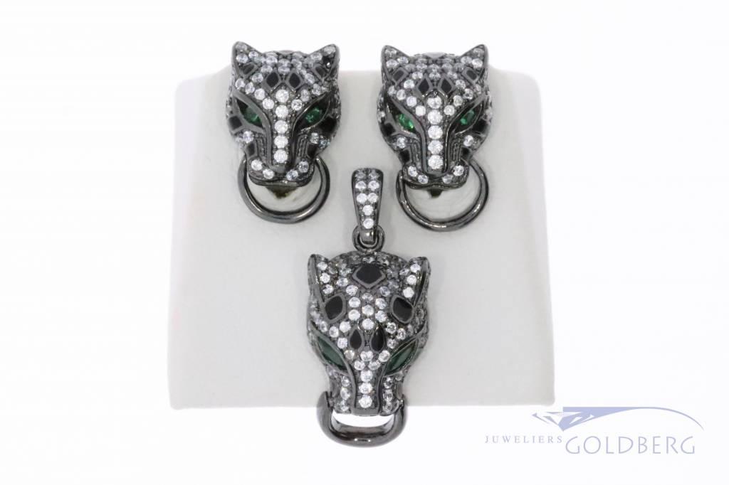Zilveren zwarte panter set met zirconia