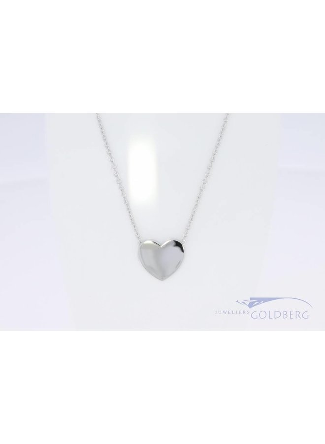Small silver engravable heart on small necklace