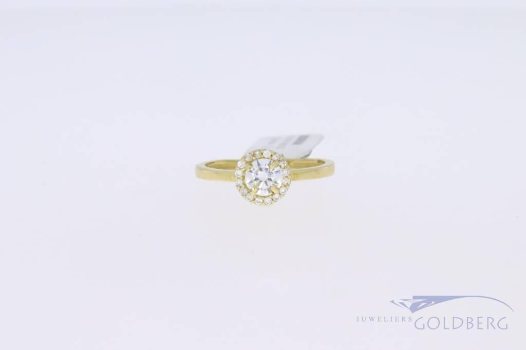 14k gouden ronde rozet ring met zirconia