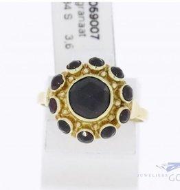 14k gouden rozet ring met granaat