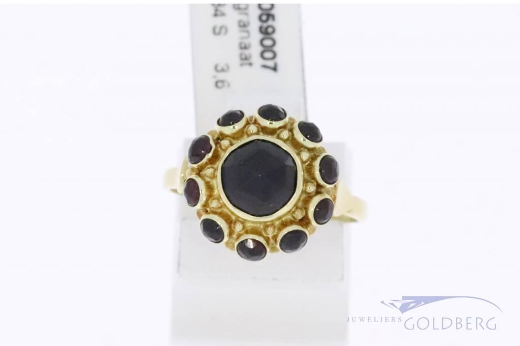 Vintage 14k gouden rozet ring met granaat