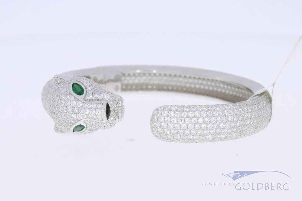 Silver panther bracelet with zirconia's