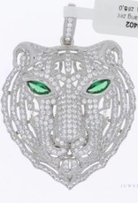 Large silver panther pendant with zirconia