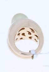 Zeer zware rose gouden ring met parel