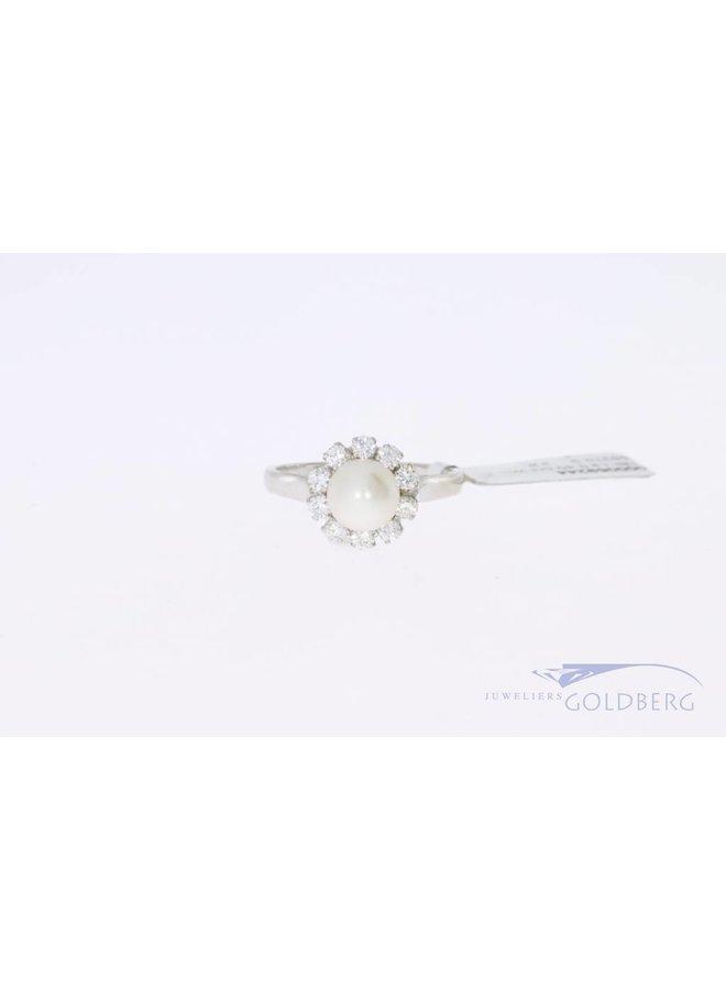 18k witgouden roset ring diamant parel
