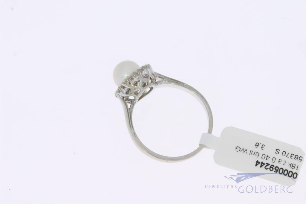 18k witgouden roset ring met 0.40ct diamant en parel