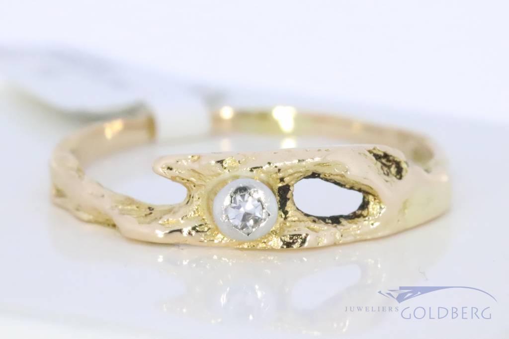 Vintage Lapponia ring 1986 with diamond