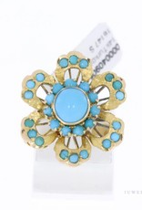 14k gold flower ring with turquoise