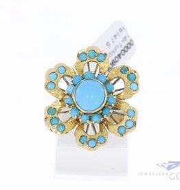 14k gouden bloem ring met turkoois