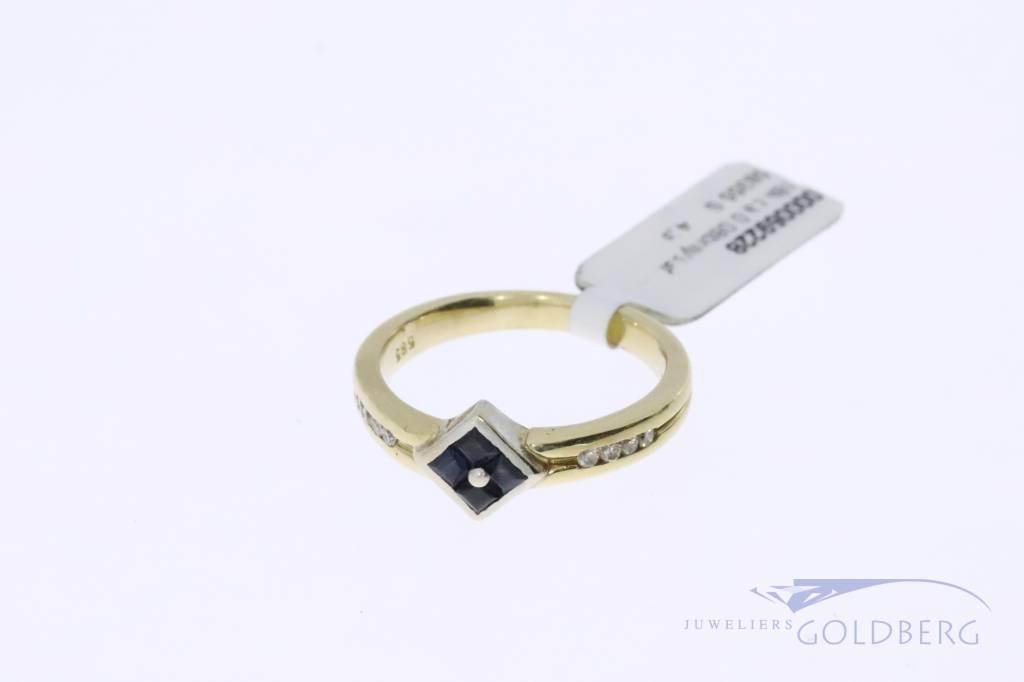 14k gouden vintage ring met saffier en diamant