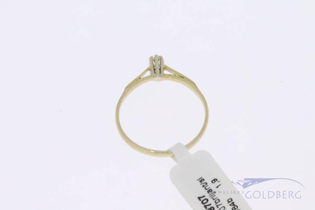 14k gouden solitair ring met 1x 0.07ct briljant geslepen diamant