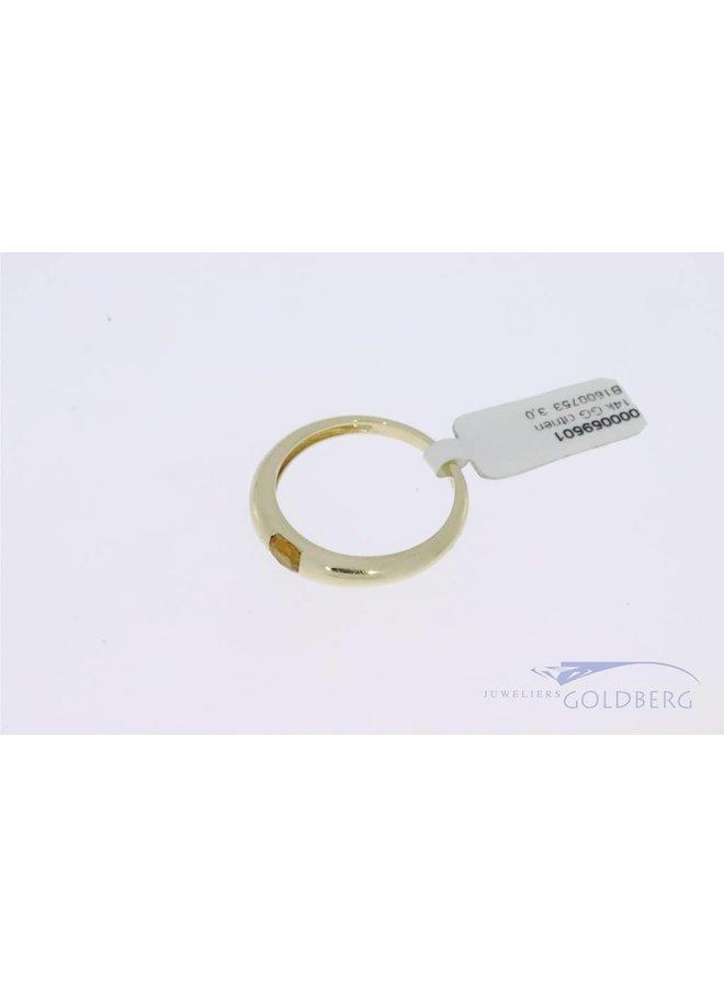 14k gouden strakke vintage ring met citrien