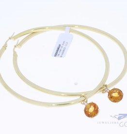 Extra grote 18k gouden ovalen creolen met hanger